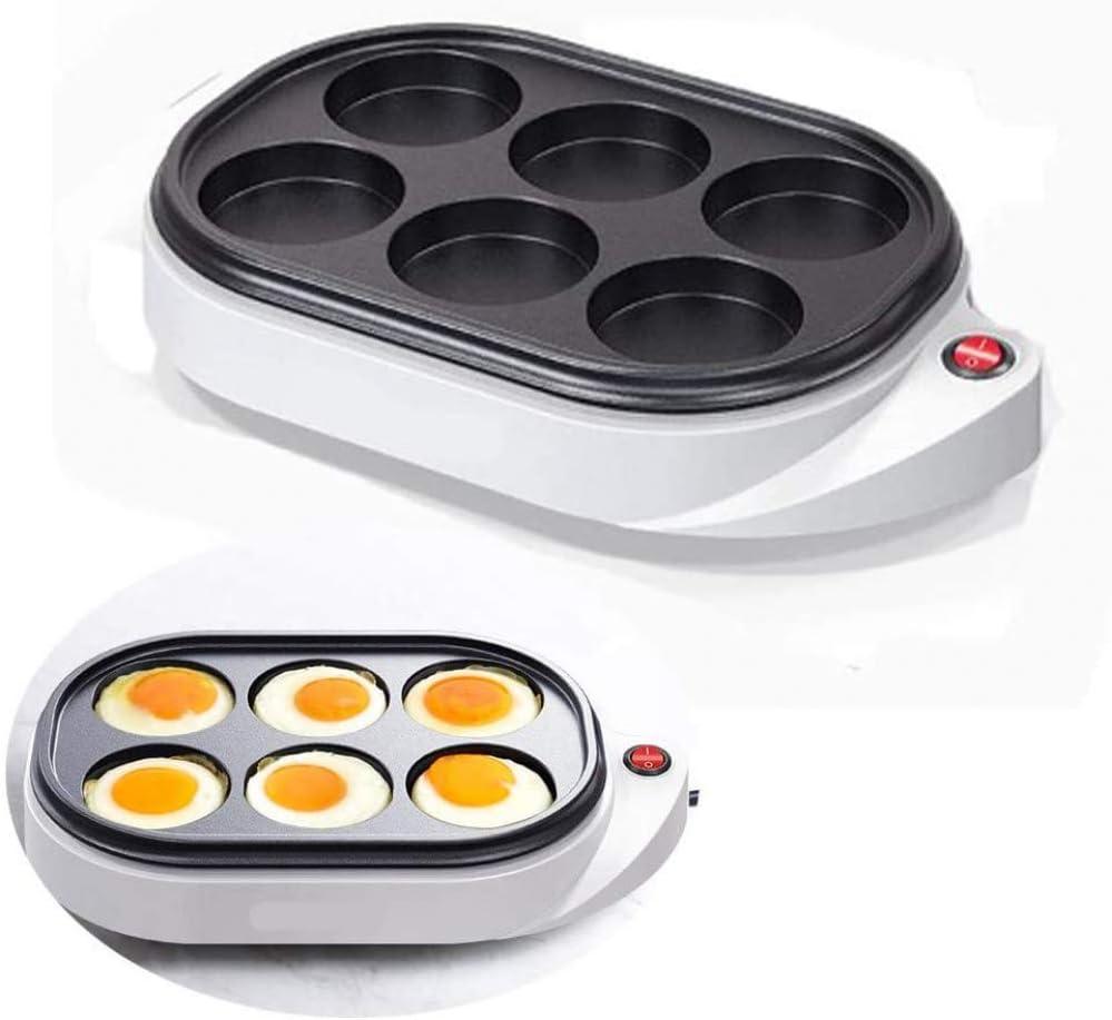 Caldera de huevos eléctrica de 6 agujeros, huevos al vapor, enchufes y usos, tortilla eléctrica para huevos, máquina para hacer pasteles, plancha antiadherente para el desayuno, plancha,