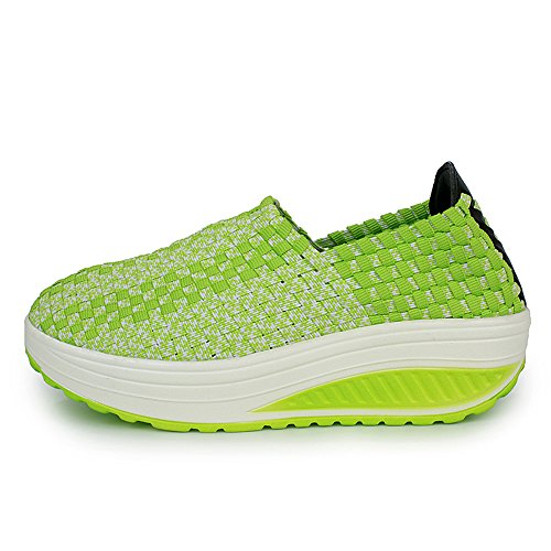 Enllerviid Femmes Multicolor Tresse Mode Sneakers Casual Slip-on Plateforme Weave Chaussures 355 Vert