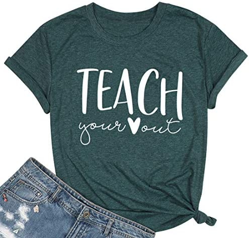 Teacher Shirts Women Cute Letter Print T-Shirts Teaching Tee Shirt Heart Graphic Tops Summer Casual Tops Blouse