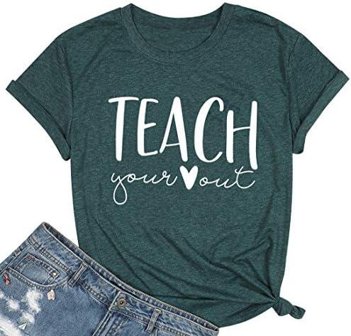 Teacher Shirts Women Cute Letter Print T-Shirts Teaching Tee Shirt Heart Graphic Tops Summer Casual Tops Blouse