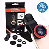Captcha Universal 3 In 1 Cell Phone Camera Lens Kit -Fish Eye Lens /2 In 1 Macro Lens & Wide Angle Lens / Universal ClIP (Multicolor, Assorted Colour)