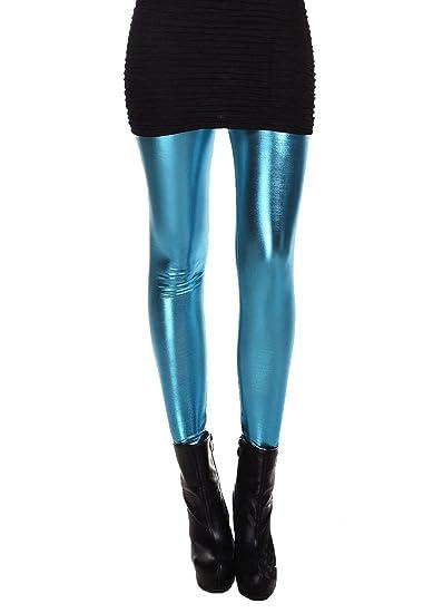 ELLAZHU Femme Pantalon Legging M/étallique Flexible Cuir Faux Taille Unique 2143
