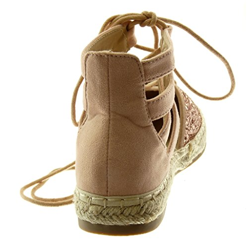 Angkorly Women's Fashion Shoes Sandals Espadrilles - High - Ankle Strap - Glitter - Crossed Thongs - Cord Block Heel 2 cm Pink eS3I4RtyF
