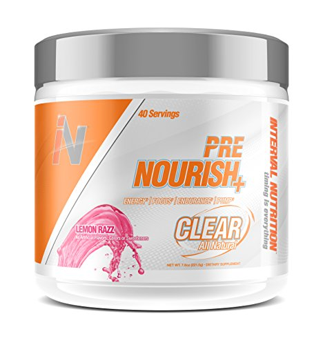Interval Nutrition Pre Nourish+ Clear Lemon Razz All Natural Energy and Endurance Pre-Workout Powder – 40 Servings