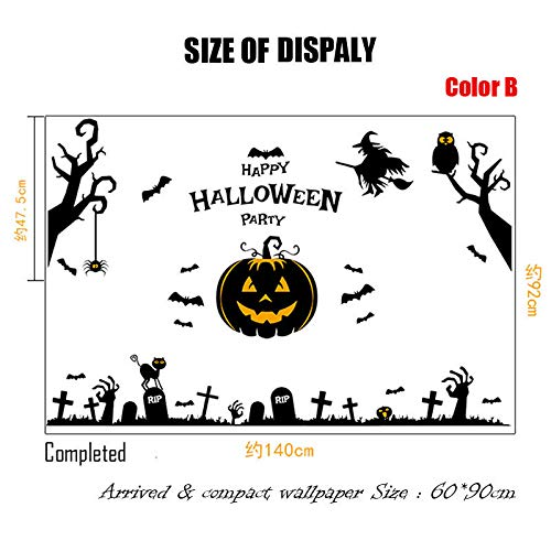 1 piece 2018 Halloween Removable Stickers Wall pumpkins seasonal 3D Wallpaper Decoration