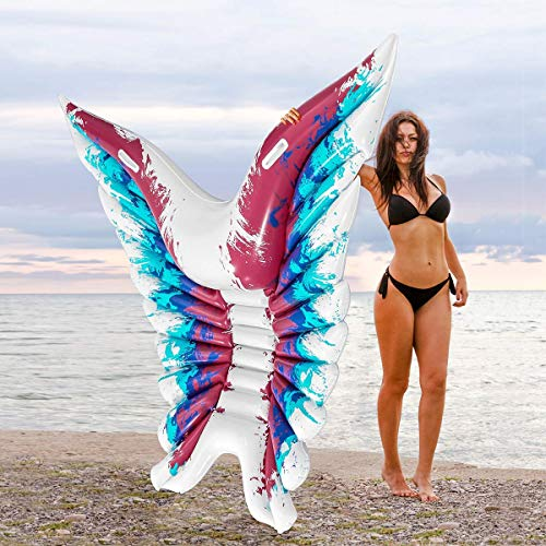 Xiangtat Inflatable Pool Float, Angel Wings Inflatable Floating Raft PVC Pool Lounger for Summer Swimming Pool Party, Butterfly Shape Blow up Beach Toy for Kids and Adults
