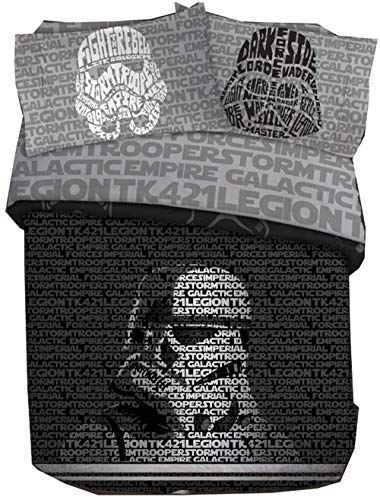Star Wars 5-Piece Unisex Queen Bedding Sheet Sets – Comforter, Sheets and Pillowcases [Black/Grey]
