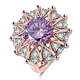 Women Rings Big Purple AAA Cubic Zirconia Rhodium Rose Gold Plated Sun Shaped Party Jewelry Size 5-10