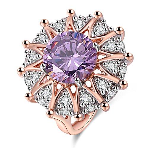 Jiangyue Women Rings Big Purple AAA Cubic Zirconia