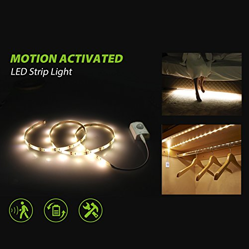 Under Cabinet Lighting, Motion Activated LED Strip Lights Kit for Cabinet Closet,Kitchen Counter,Bathroom, Under Bed, Laundry,Wardrobe [ Rechargeable 1100 Mah battery, 39 Inch ]