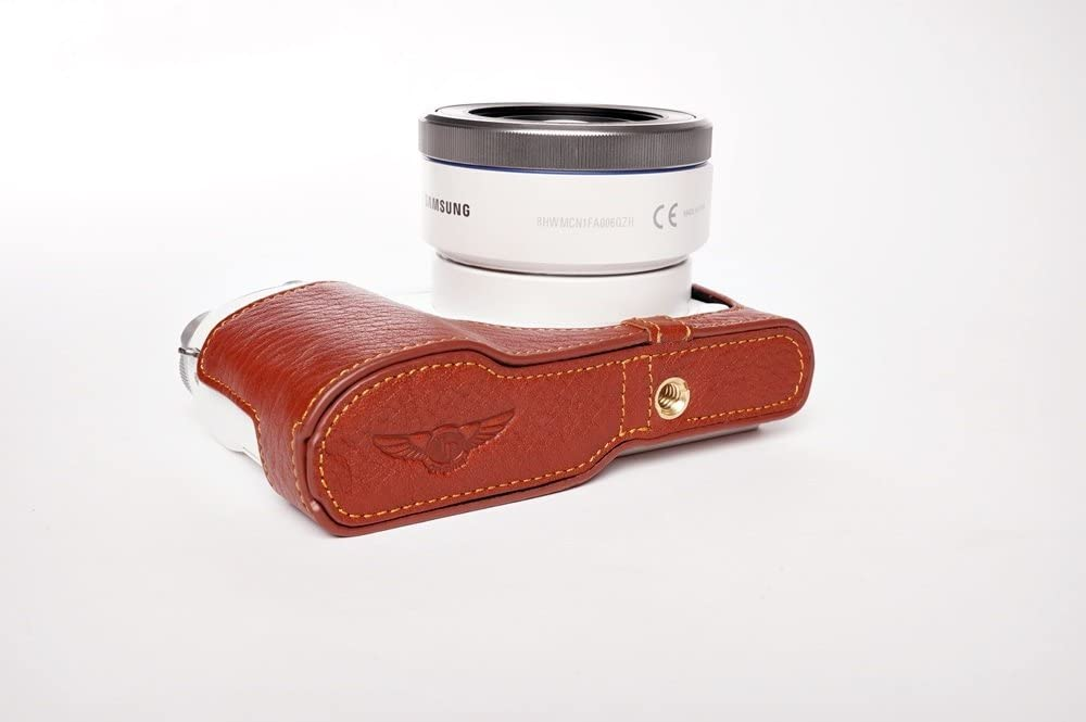 Handmade Genuine Real Leather Half Camera Case Bag Cover for Samsung NX3000 Bottom Opening Version Brown Color