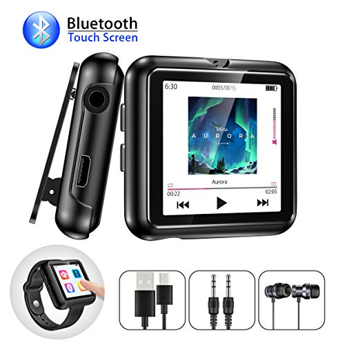MP3 Player, Gueray 8GB Bluetooth MP3 Player with Clip Sport Watch Strap Full Touch Screen Portable Music Player Supports FM Radio Voice Recorder Video E-Book TF Card up to 128GB (Best Touch Screen Music Player)