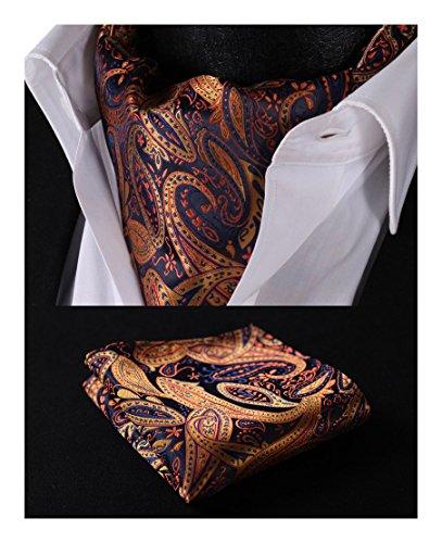 (HISDERN Men's Paisley Jacquard Woven Self Cravat Tie Ascot Set One Size Orange/Navy Blue)