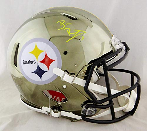 Ben Roethlisberger Autographed Pittsburgh Steelers F/S Chrome Speed Authentic Helmet- Beckett Auth Silver