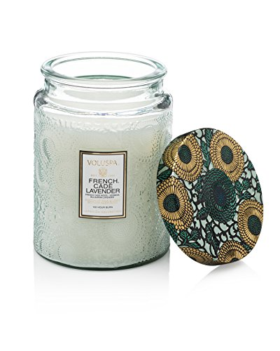 Voluspa French Cade & Lavender Large Glass Jar Candle 100 Hour Limited 16 - Online French Glasses