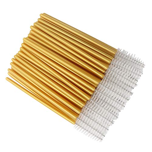 300 Pack Mascara Wands Disposable Eye Lash Applicators for Eyelash Extensions Makeup Brush Tool Kits, Gold/White