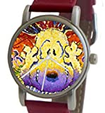 """Snoopy By Everhart"" Featuring Tom Everhart's Image of Snoopy in ""Nobody Barks In L.A."" On The Unisex Size Brushed Chrome Watch With A Red Leather Strap"