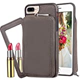 iPhone 7 Wallet Case,Kudex Durable Slim Fit Anti-Shock High Impact Protective Premium PU Vegan Leather Zip Carrying Purse Shell Cover with Detachable Cosmetic Mirror for Women/Men iPhone 7 4.7""