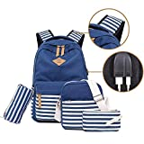 Vezela Combo Of Canvas Backpack Laptop Bag With Usb Charging Feature With Lunch Bag, Pencil Case & Pouch For Unisex (Blue- Set Of 3)