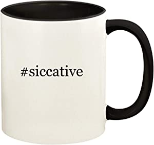 #siccative - 11oz Hashtag Ceramic Colored Handle and Inside Coffee Mug Cup, Black