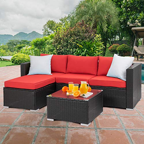 Walsunny Outdoor Furniture Patio Sets,Low Back All-Weather Small Rattan Sectional Sofa with Tea Table&Washable Couch Cushions&Upgrade Wicker(Black Rattan) (3-Piece, Red)