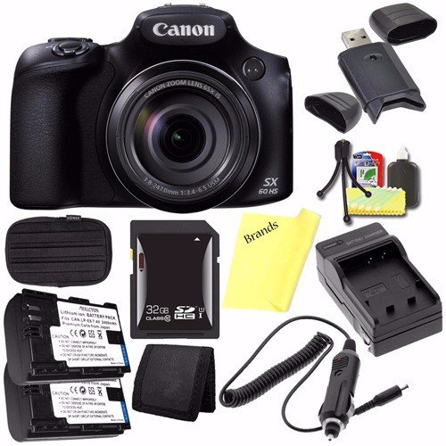 Canon PowerShot SX60 HS Digital Camera 9543B001 + Battery + Charger + 32GB SDHC Card + Small Case + Card Reader + Card Wallet (International Model)