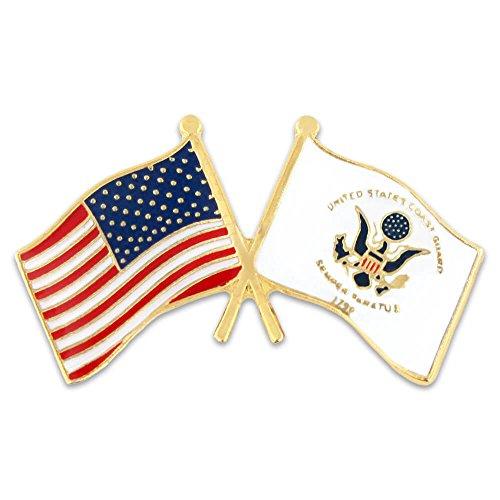 - PinMart USA and US Coast Guard Crossed Friendship Flag Enamel Lapel Pin