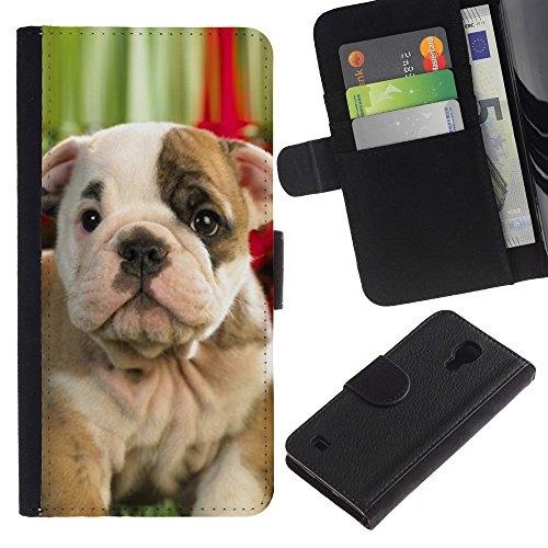 Be Good Phone Accessory // Caso del tirón Billetera de Cuero Titular de la tarjeta Carcasa Funda de Protección para Samsung Galaxy S4 IV I9500 // Boston American Pit Bull Terrier Bull