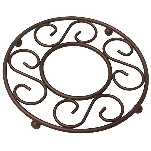 Trivet Collection - Home Basics Scroll Collection Steel Trivet, Bronze