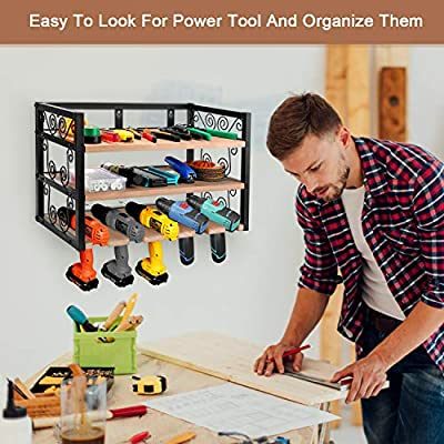 ASTONG Power Tool Storage and Tool Organizer, Drill Charging Station Five Drill Hanging Slots, Garage Storage Cabinets Wall Mount Metal Rack & Wooden Board: Home Improvement