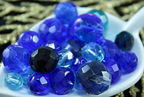 Marine Mix Clear Blue Czech Faceted Fire Polished Round Glass Beads 14mm 20g Approximately 26pcs