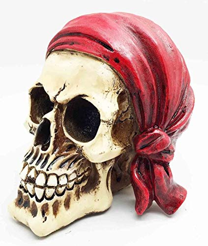 Figurine Treasure Pirate Head Skull with Red Bandana Skeleton Halloween Decor ()