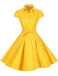 Women's Retro Vintage 1950s Style Cap Sleeve Swing Party Dress