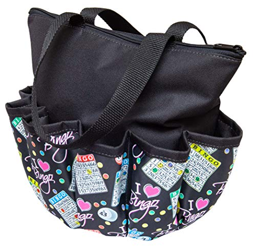 ABS Novelties I Love Bingo Pattern 10 Pocket Zipper Tote (Black) -