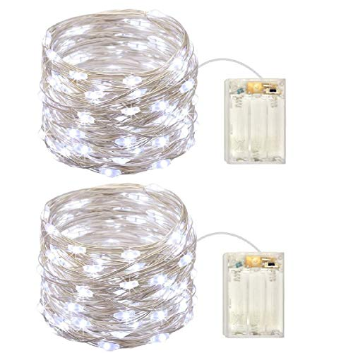 Garlands Indoor 6 Light - 2 Pack Battery Operated Mini Lights,Indoor Led Fairy Lights with Timer 6 Hours on/18 Hours off for Wedding Party Decorations,50 Count Leds,17 Feet Silver Wire(Cold White)