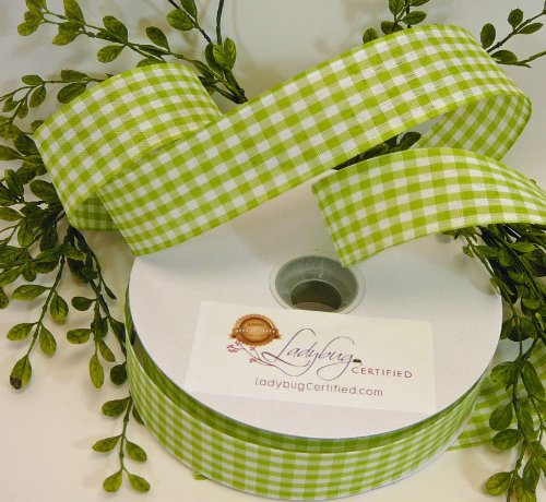 Wired Ribbon, Green/Cream Gingham Ribbon, 50 Yards per Spool, 1 1/2 inch spool, (Green Gingham Ribbon)