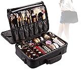 Lumcrissy Professional 3 layer Makeup Train Case Cosmetic Organizer Travel Cosmetic Bags EVA Makeup Organizers Storage Brush Holder with Adjustable Shoulder
