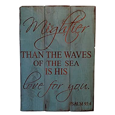 Rustic Engraved Wood Sign - 23  x 16  - Mightier than the Waves of the Sea is His Love for You - Teal