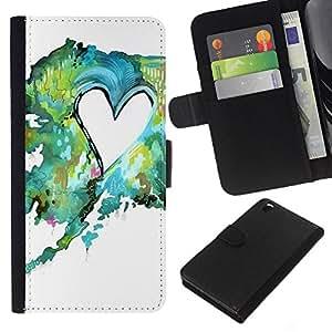 All Phone Most Case / Oferta Especial Cáscara Funda de cuero Monedero Cubierta de proteccion Caso / Wallet Case for HTC DESIRE 816 // Painting Watercolor Teal Green Love