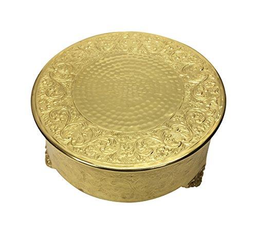 Gold Round Cake Platter - GiftBay Wedding Cake Stand Round 14-Inch,Aluminum Gold Finish