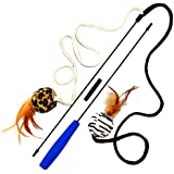Pet Fit For Life 2 Ball Feather Teaser and Exerciser For Cat and Kitten - Cat Toy Interactive Cat Wand