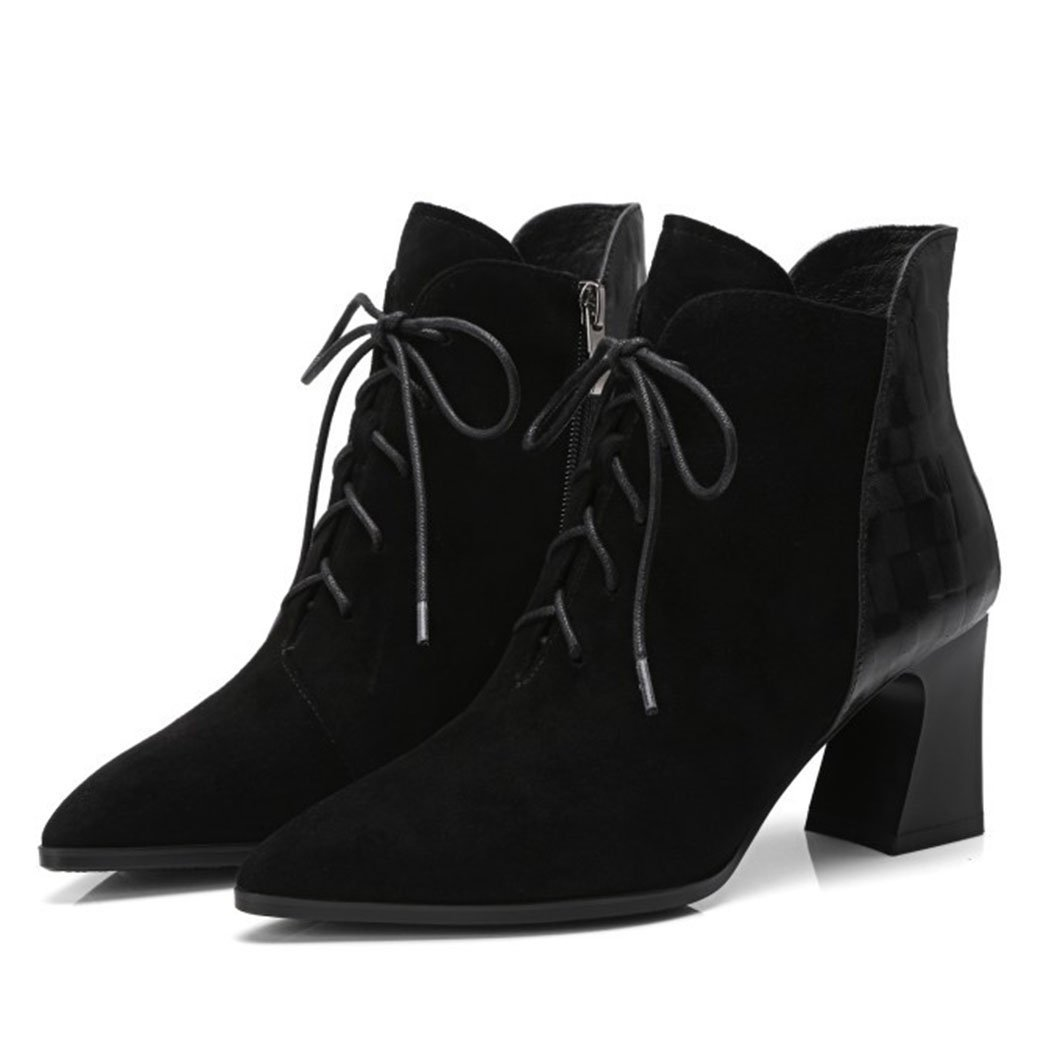 Noirsinglechaussures RLYAY Bottes Pointues Côté Tirette Dames Haut Talons Wild Travail Chaussures De Carrière Noir Plus Velours 35EU