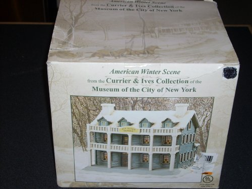 OLD SLOAN TAVERN Hand Painted Porcelain House from the 2000-2001 American Winter Scene exclusive limited edition CURRIER & IVES Collection of the MUSEUM OF THE CITY OF NEW YORK, 8