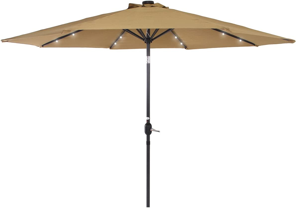 PHI VILLA 10 FT Patio Umbrella with Solar Lights Push Button Tilt Adjustment and Crank System, Tan Base Not Included