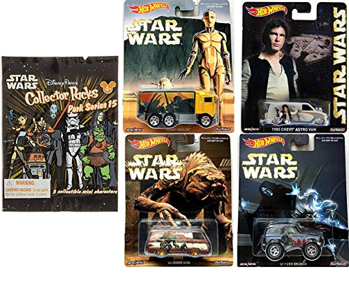 Hot Wheels Solo Star Wars Ralph McQuarrie Pop Culture Real Riders Cars Bundled with Hiway Hauler C-3PO Truck / Han Astro Van / Ford Bronco / Dodge & Mini Figures Collector Pack Park Series / 5 Items