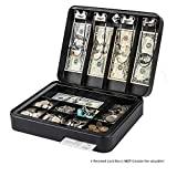 Kyodoled Large Security Cash Box with Money Tray and Key,Portable Safe Lock Box for Money,Cash Register 11.8Lx 9.4Wx 3.3H Inch Black