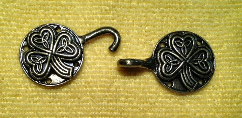 Pewter Celtic Shamrock and Triskele Cloak Clasp, for Light to Medium Weight (Dragon Triskele)