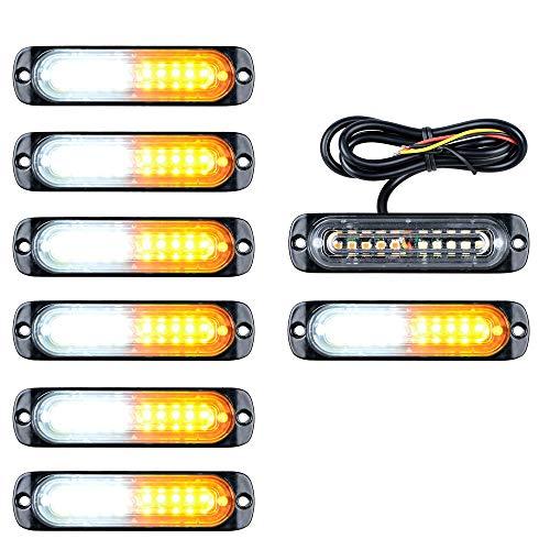 8PCS Amber/White 10-LED Flashing Recovery Strobe Car Emergency Warning Ultra Slim Light Bar Grill Breakdown 12V 24V (Light 3w Outdoor Break)