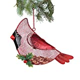 Collections Etc Hanging Cardinal Bird Feeder with Holly Accent - Outdoor Holiday Decor for Bird Lovers