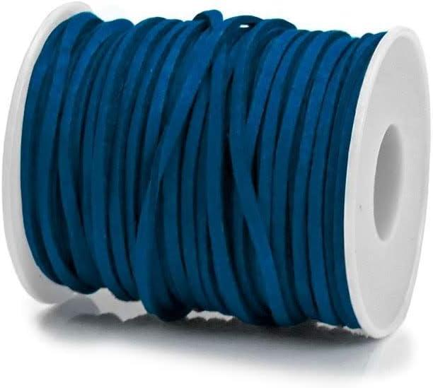RUBY - Bobina Cordón de Antelina 3mm x 2mm de 30 Metros Hilo de Cuero Falso para hacer Manualidades Pulsera o Collar Fabricación de Bisutería y Abalorios (Turquesa Oscuro)